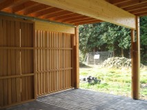 Wooden gates as seen from inside