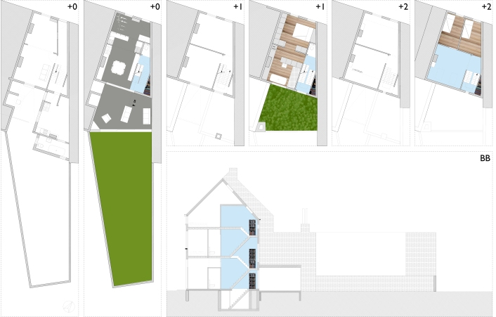 Floorplans and section showing the implementation of the staircase as a room.