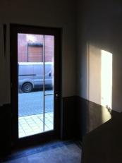 Entrance door to apartment building.