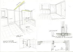 Sketch showing integrated lighting and connection of sliding doors.