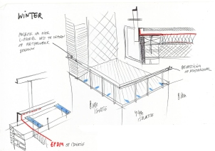 Concept of rooftop terrace and balustre.