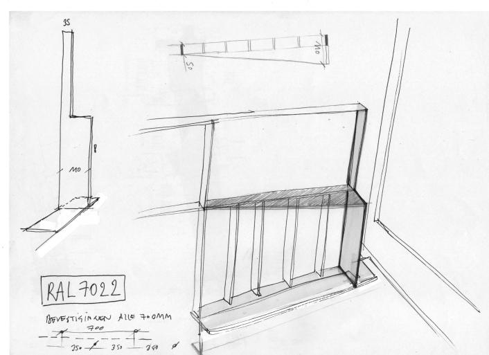 Sketch of reinforcement corner aside sliding window